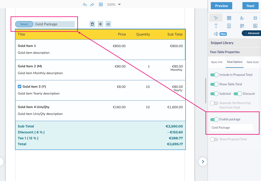 Fresh Proposals Software Update – April 2021 : Pricing Package