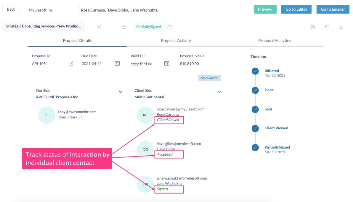 Fresh Proposals Software Update – April 2021 : Client-proposal status