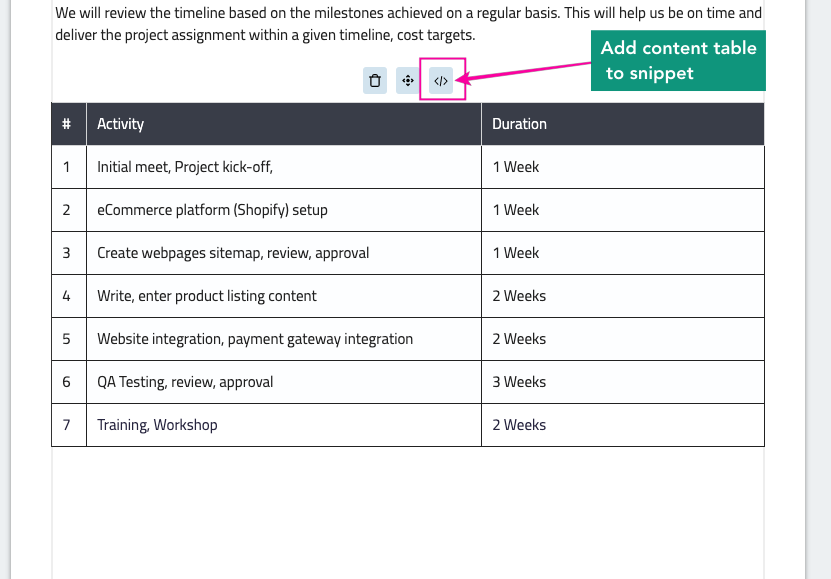 Add Content Table to Snippet - - Fresh Proposals Software Update - February 2021
