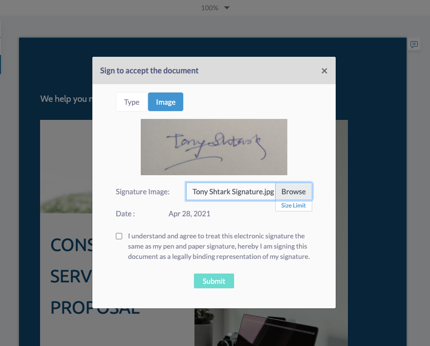 Fresh Proposals Software Update – April 2021 : Use image as eSignature