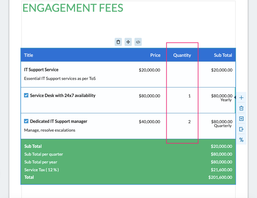 Fresh Proposals Software Update – April 2021 : Fees table with fixed fees