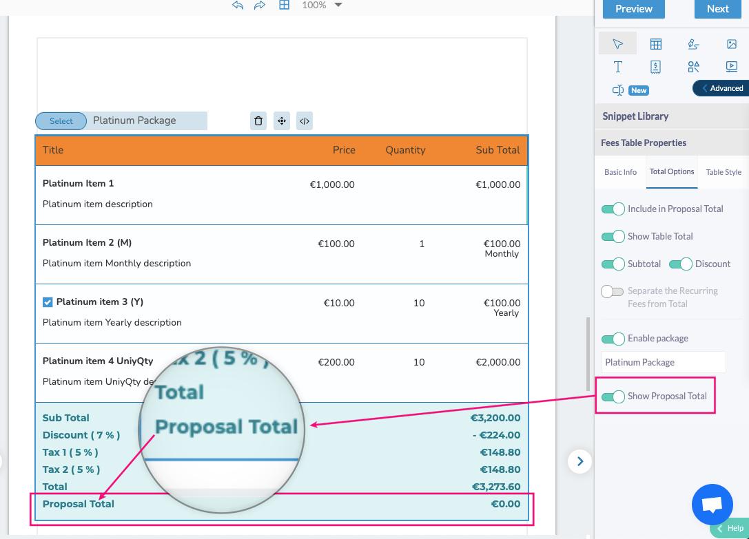 Fresh Proposals Software Update – April 2021 : Proposal Total Option