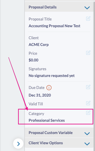 Fresh Proposals Software Update - January 2021 : Proposal Category Editable