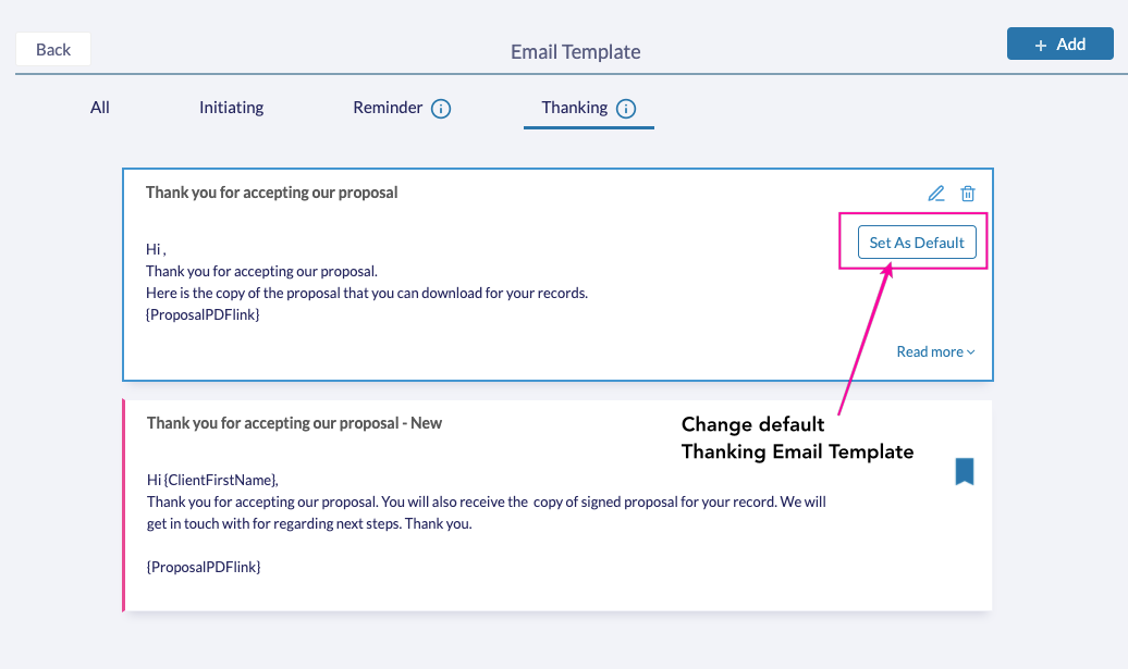 Set Default Email Templates - Fresh Proposals Software Update - February 2021