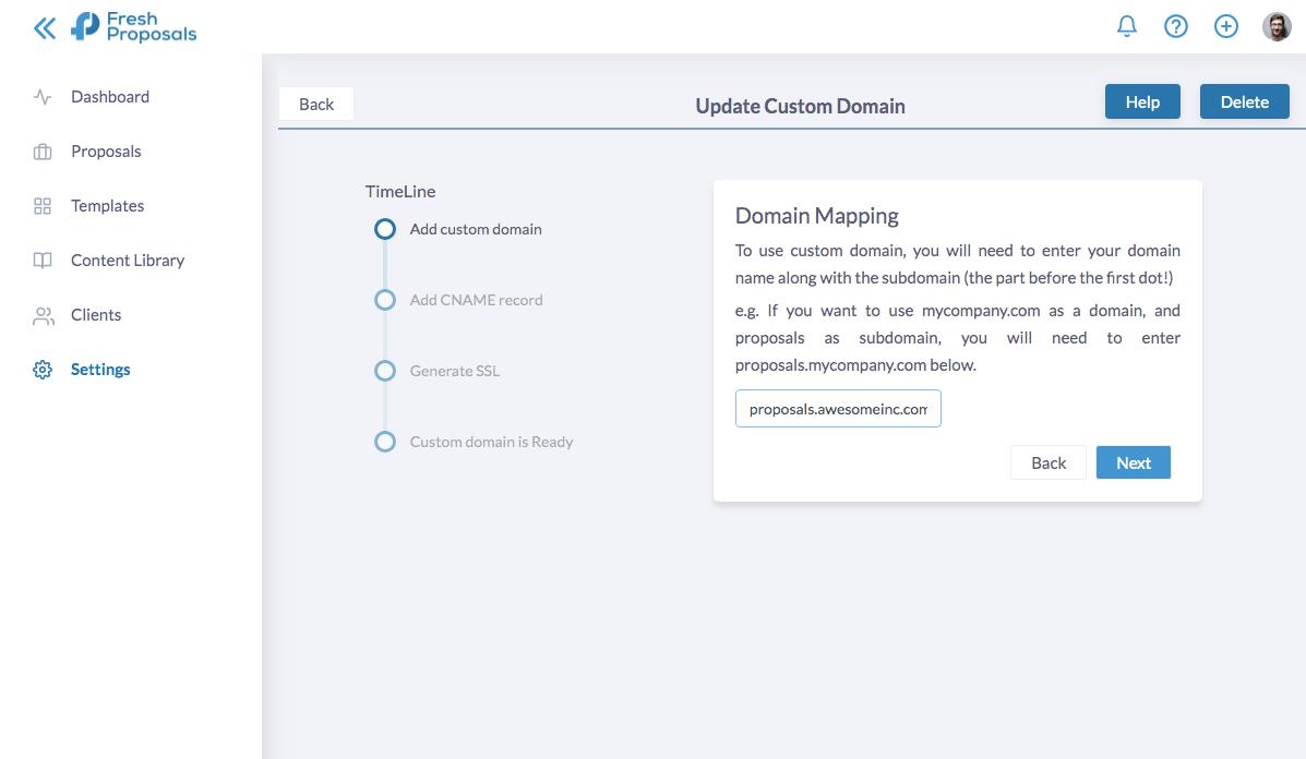 Fresh Proposals Software Update - Custom Domain