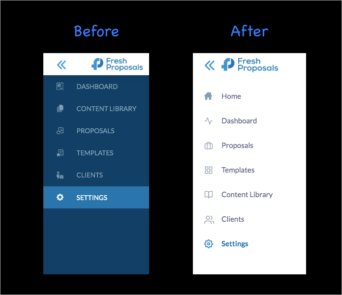 Fresh Proposals Software Update - UI Refactoring of Menus